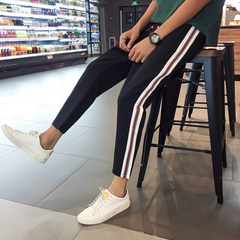 MEN'S Pants Japanese Style Trend 2018 New Style Spring Skinny Pants Sports Teenager Micro Elastic Harem Pants Tight Type