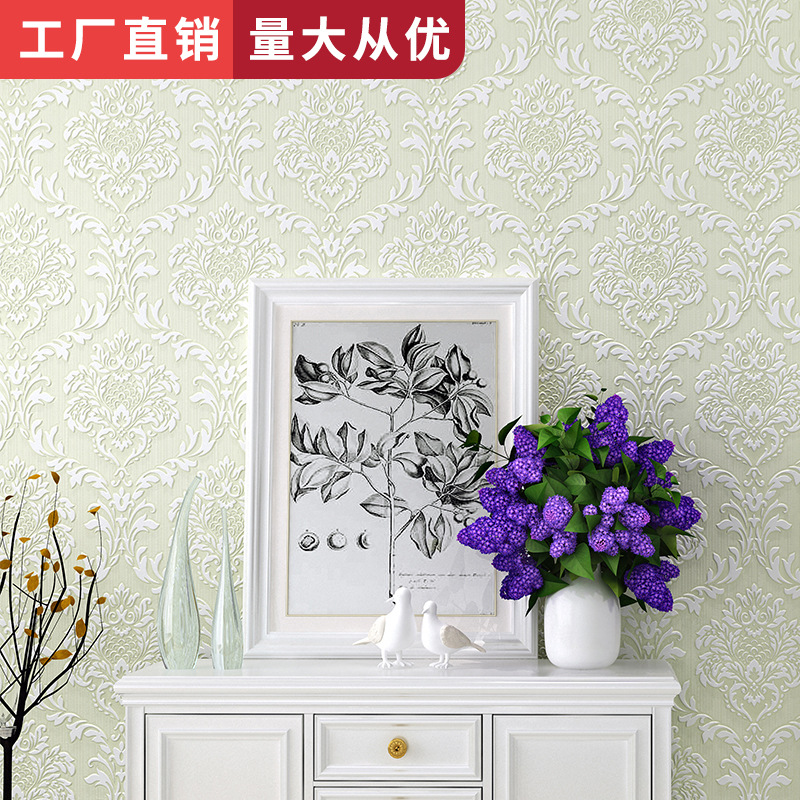 Living Room Bedroom Wall-to-Wall TV Background Wallpaper Simple European Style Non-woven Wallpaper Wholesale Manufacturers Direc