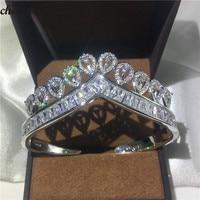 choucong Female Crown Bangle cuff 925 Sterling Silver AAAAA Zircon stone Party Wedding Bracelets Bangles for women bridal bijoux