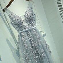 На заказ вечернее платье с кружевной аппликацией vestidos de boda invitada Sashes Dercation Flooe length vechernee Party