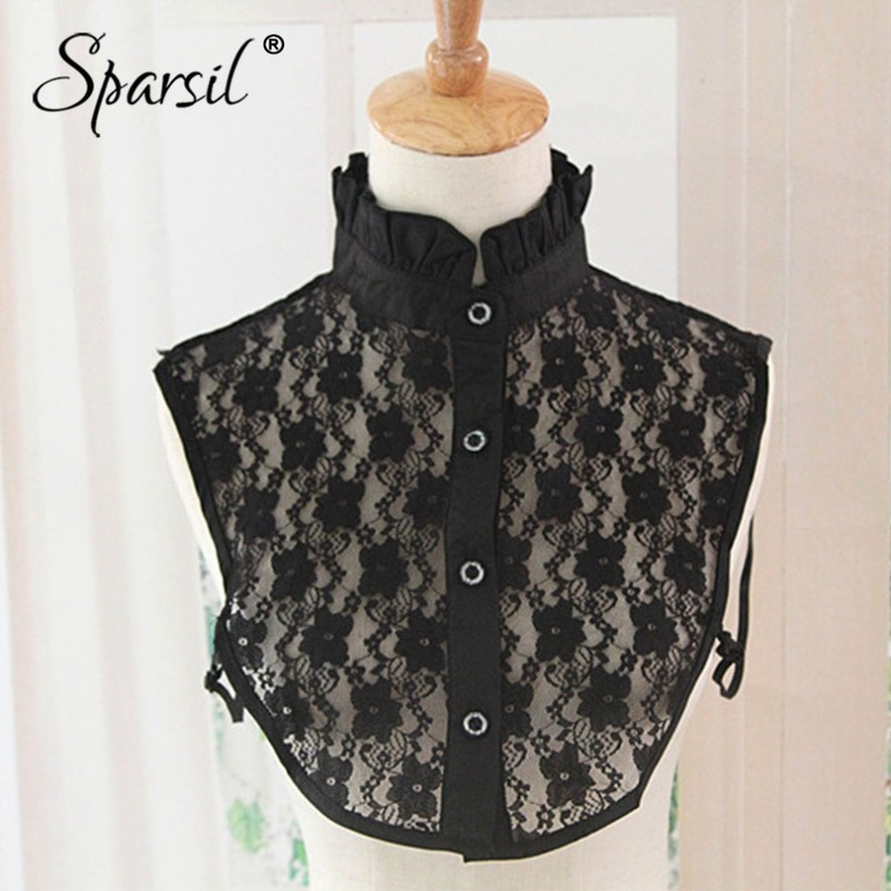 Sparsil Women Stand Neck Hollow Lace Fake Collar With Button Spring Shirt False Collar Pure Black White Detachable Tie Lady