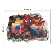 Marvel 3D Hero Spiderman Wall Stickers For Nursery Kids Room Decorations Cartoon PVC Broken Decal Poster