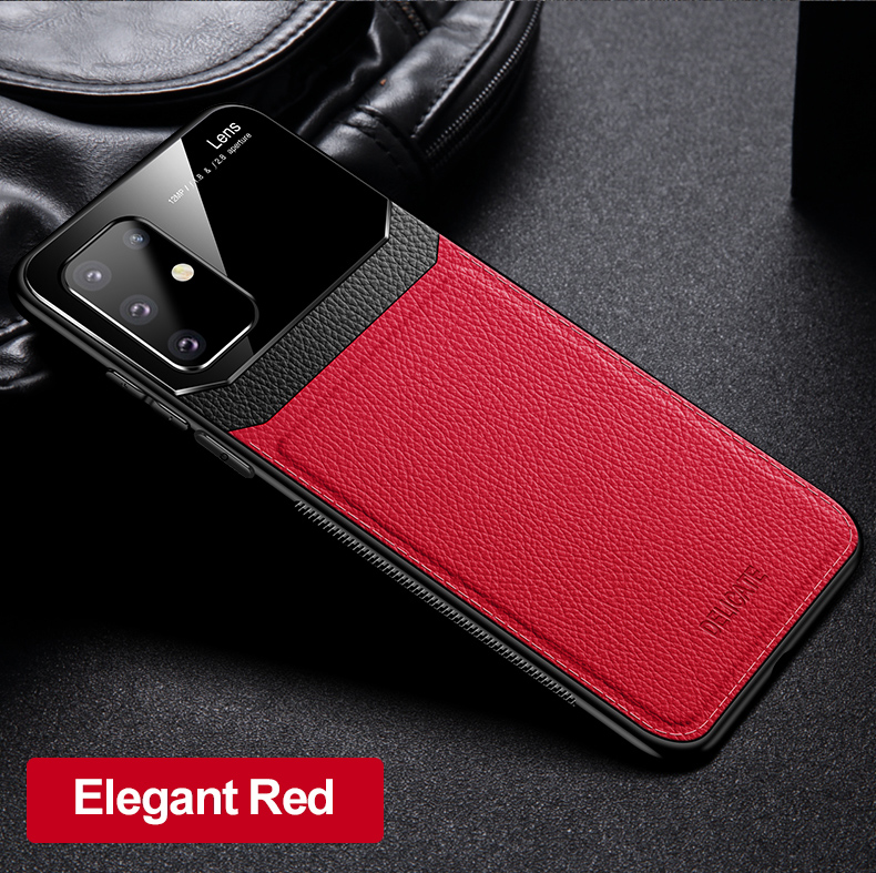PC Grained Leather Skin-pattern Retro Bumper Back Phone Case for Samsung S20 Plus 12