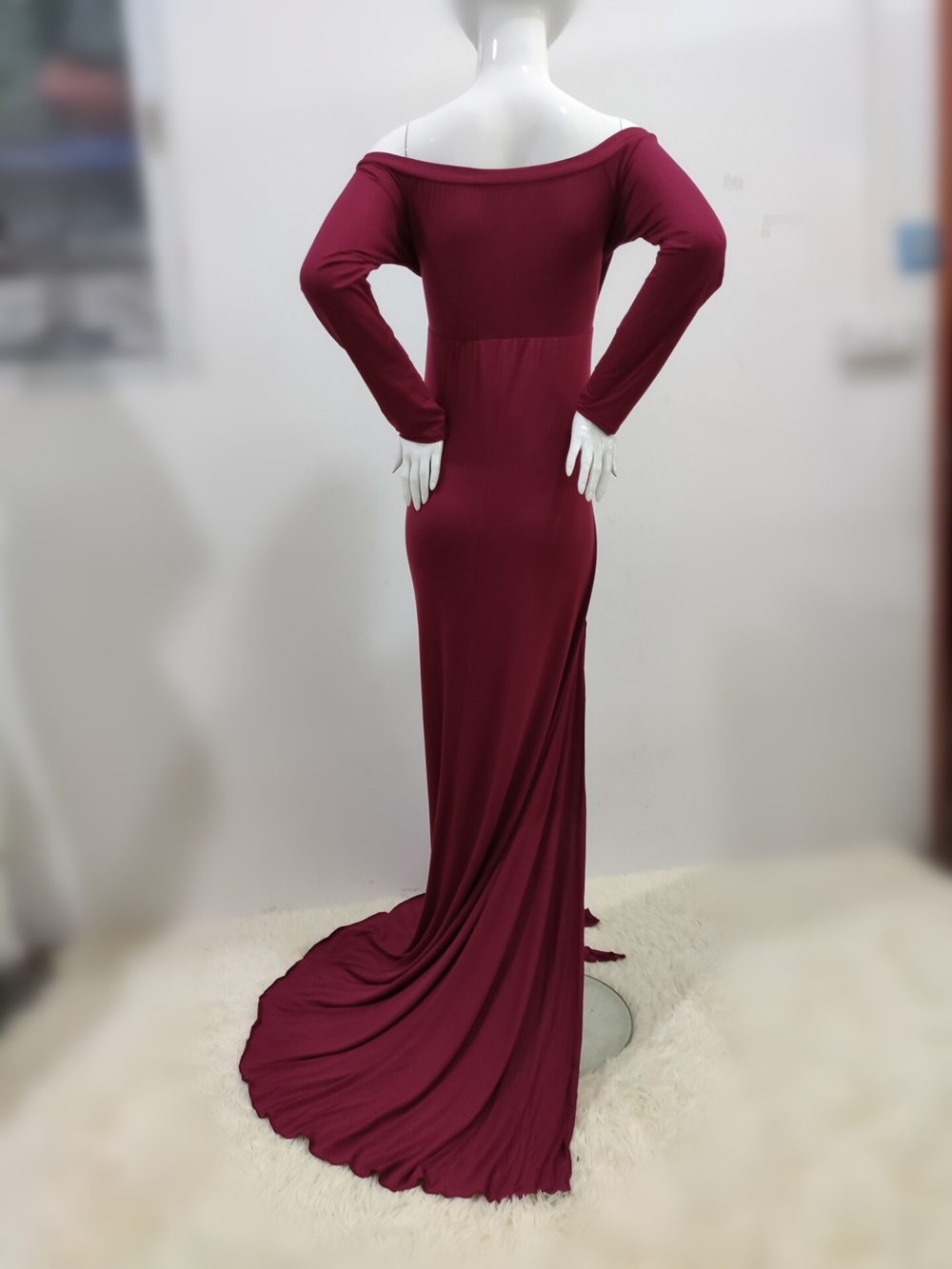 Sexy Shoulderless Maternity Dresses For Photo Shoot Maxi Gown Split Side Women Pregnant Photography Props Long Pregnancy Dress (23)