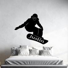 Персонализированное имя Спортивная Наклейка на стену для сноуборда