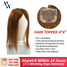 "MW Straight Hair Topper Wig Human Hair For Women 4*4"" PU + Silk Base Clip Hair Toupees 150% Density Natural Hairline(China)"
