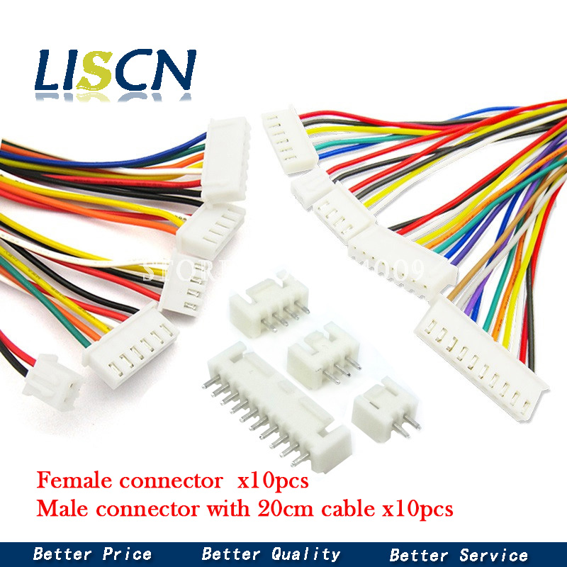 10Sets JST XH2.54 XH 2.54mm Wire Cable Connector 2/3/4/5/6/7/8/9/10 Pin Pitch Male Female Plug Socket 20cm Wire Length 26AWG