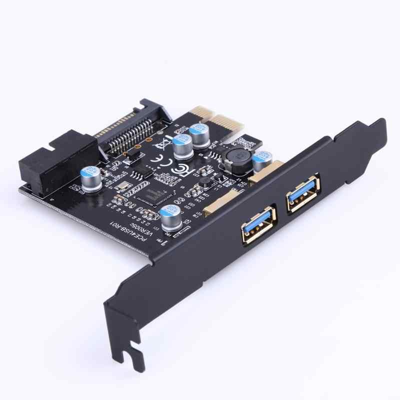 PCI-E a USB 3,0 2 puertos tarjeta de expansión PCI Express conector de alimentación de 19 pines