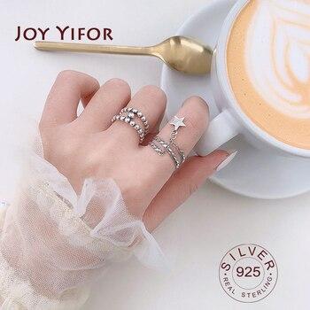 Elipse-925 anillos de plata esterlina de doble capa hecho a mano para...
