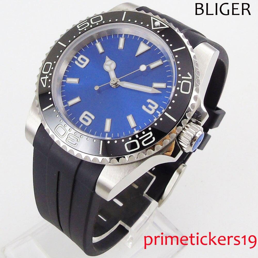 Automatic men's watch turning bezel 40mm nologo blue dial sapphire glass luminous rubber strap automatic movement
