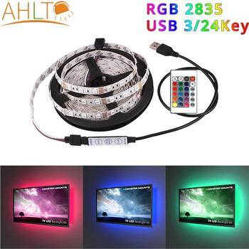 USB SMD 2835 RGB LED Strip DC5V Mini 3Key 24Key Flexible Light Lamp Christmas Desk Decor Screen TV Background Lighting Neon Sign image
