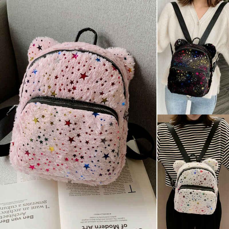 ¡Novedad! Mochila pequeña de moda para mujer, mochilas escolares para niñas, bolsa de hombro con brillo de estrellas de gran oferta