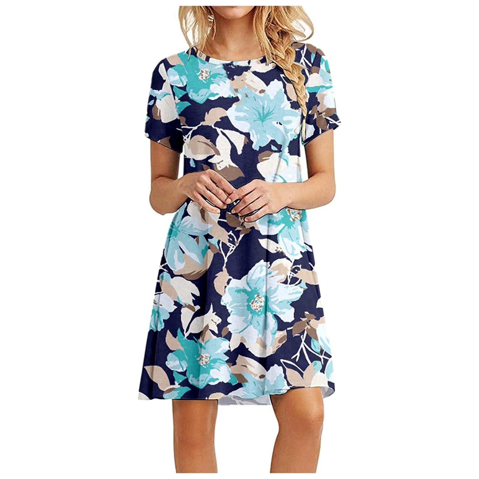 Women's Summer Casual Tshirt Dresses Short Sleeve Boho Beach Dress 3
