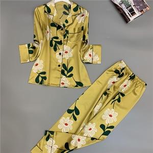 Image 3 - Nueva ropa de dormir cómoda sección larga seda hielo pijamas de mujer estampado de moda Primavera