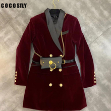 Blazer Women Velvet Suit Jacket Double Breasted Long Sleeve