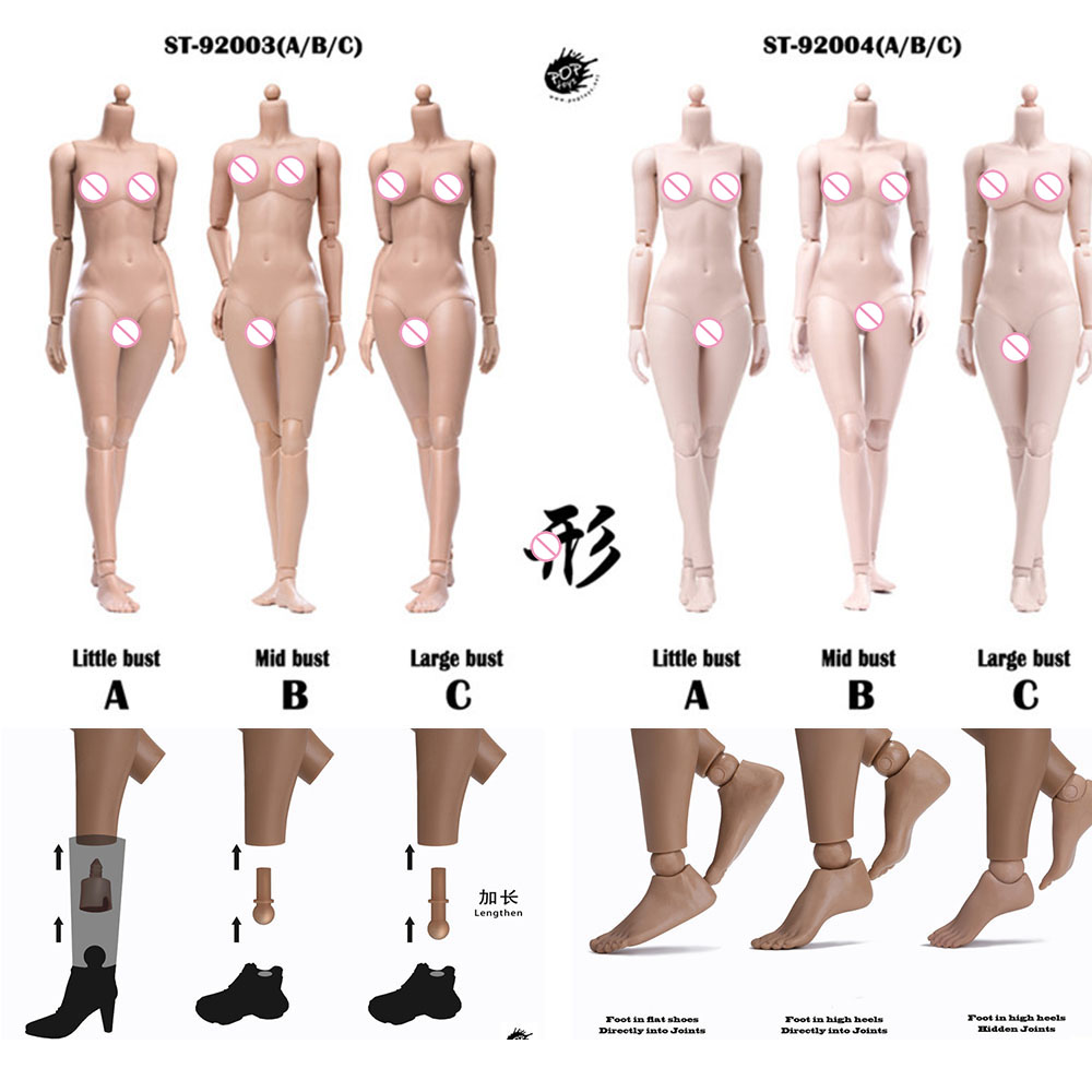 POPTOYS 92003/92004 Xing In Stock <font><b>1/6</b></font> <font><b>Scale</b></font> 255mm Modified Version <font><b>Female</b></font> Body 12'' Flexible Suntan/Pale Skin Model for 1:6 Head image