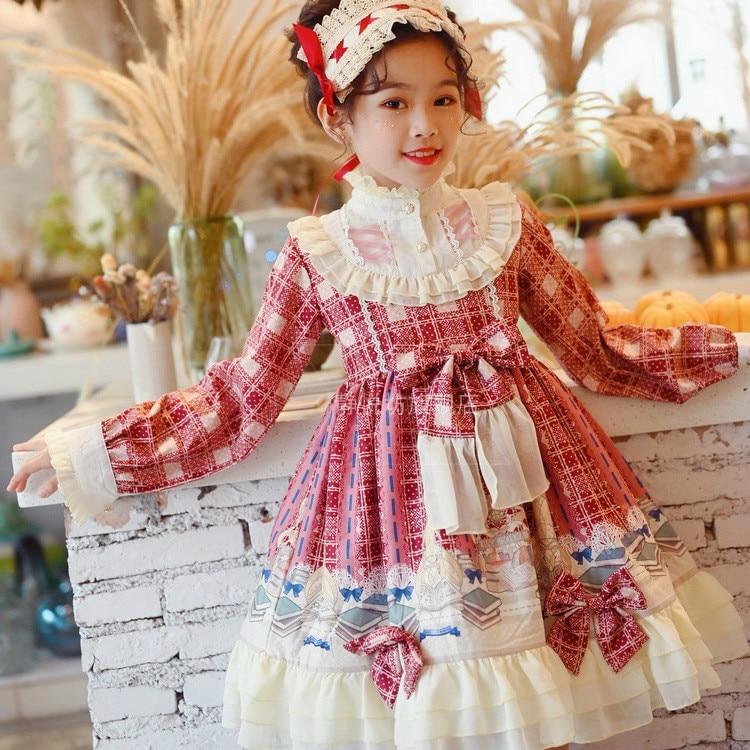 4 Colours Kids Spanish court style dress Sweety girls lolita dress kawaii lattice Princess dress children victorian dress