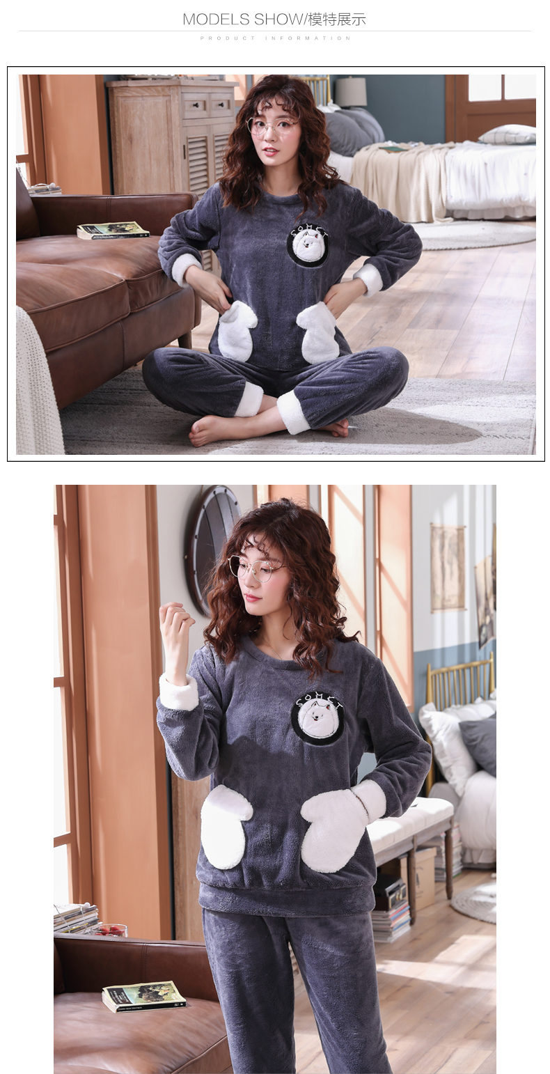 Long Sleeve Warm Flannel Pajamas Winter Women Pajama Sets Print Thicken Sleepwear Pyjamas Plus Size 3XL 4XL 5XL 85kg Nightwear 329