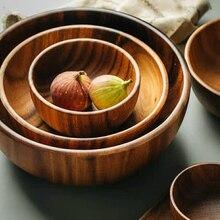 Natürliche Hand Made Holz Salat Schüssel Klassische Große Runde Acacia Holz Salat Suppe Dining Schüssel Platten Premium Holz Küche utensilien