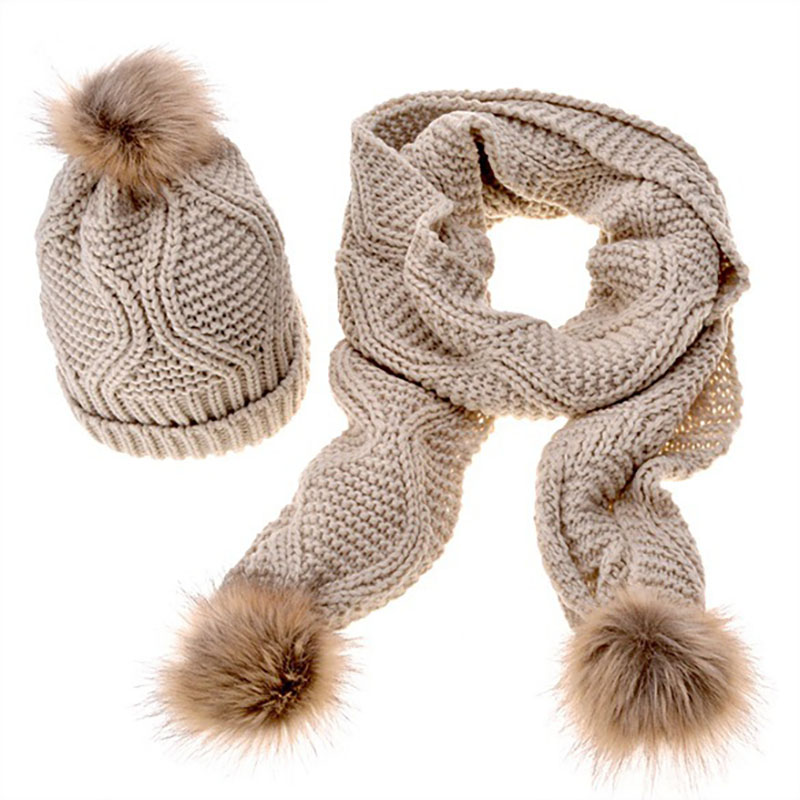 Women's New Winter Knitted Scarf Hat Set Girl Outdoor Warm Diamond Pattern Solid Color Hair Ball Scarf Cap For Christmas Gifts