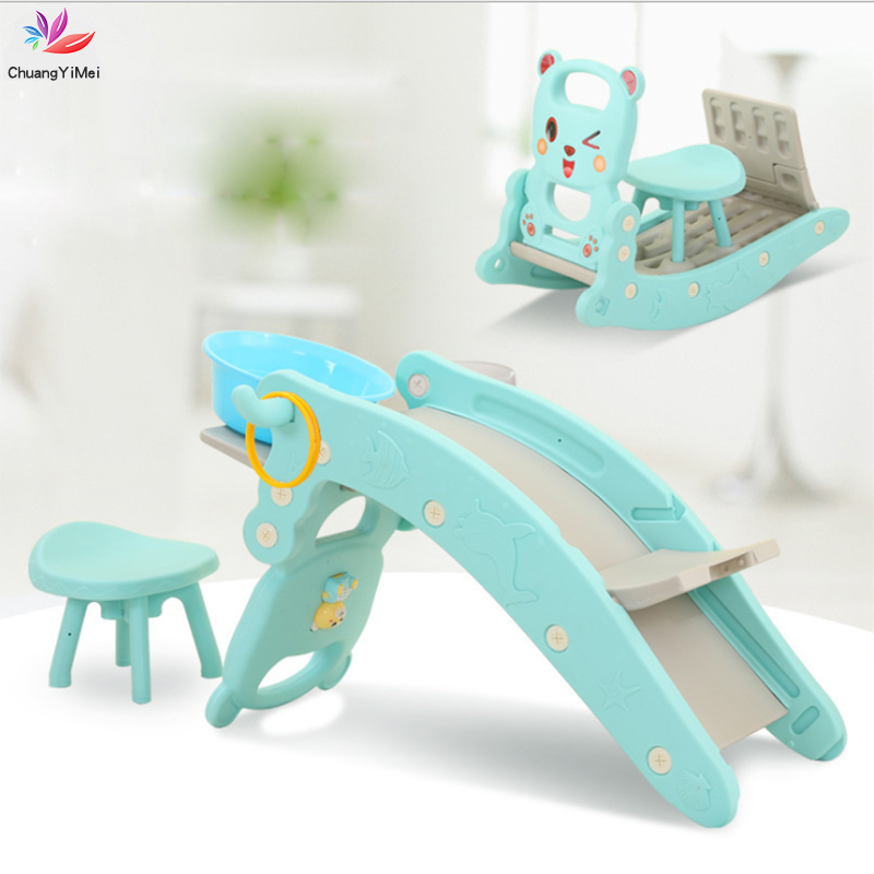 Baby Rocking Horse Slide Basketball Box Music Learning Machine Combination 4 In 1 Children Indoor Home Baby Playground Toys M014