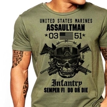 T-Shirt Men Us Marines USMC Army 0351 Short-Sleeve Infantry Plus-Size Casual Tee MOS