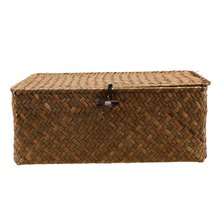 Seaweed Hand-Woven Storage Box Desktop Sundries Clothes Basket Finishing With Lid