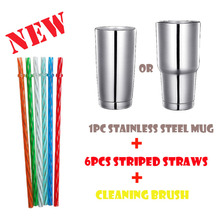 6pcs straw set, a brush,Stainless Steel Tumbler 30oz - Vacuum Insulated Tumbler Coffee Cup Double Wall Large Travel Mug with Lid недорго, оригинальная цена