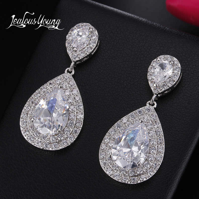 Brilliant Water Drop Cubic Zirconia Long Earrings Big CZ Bridal Crystal Wedding Earrings For Brides Fashion Jewelry Brinco AE413