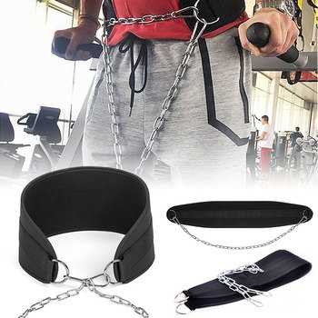 Thick Neoprene Weight Lifting Belt with Chain Dipping Belt for Pull Up Chin Up Kettlebell Barbell Fitness Bodybuilding Gym Belt fitness weight lifting belt gym powerlifting crossfit barbell lifting dip belt weightlifting equipment for training lifting belt