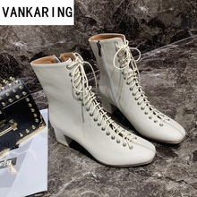 genuine leather women boots fashion high heels shoes winter lace up woman martin