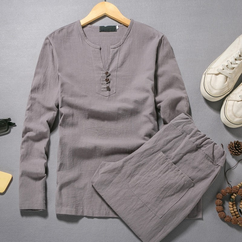2020 Spring Hot Sale Long Sleeve V Neck Cotton Linen Men Sets Tow Piece Sets Fashion White Color Loose Plus Size M-5XL Clothing