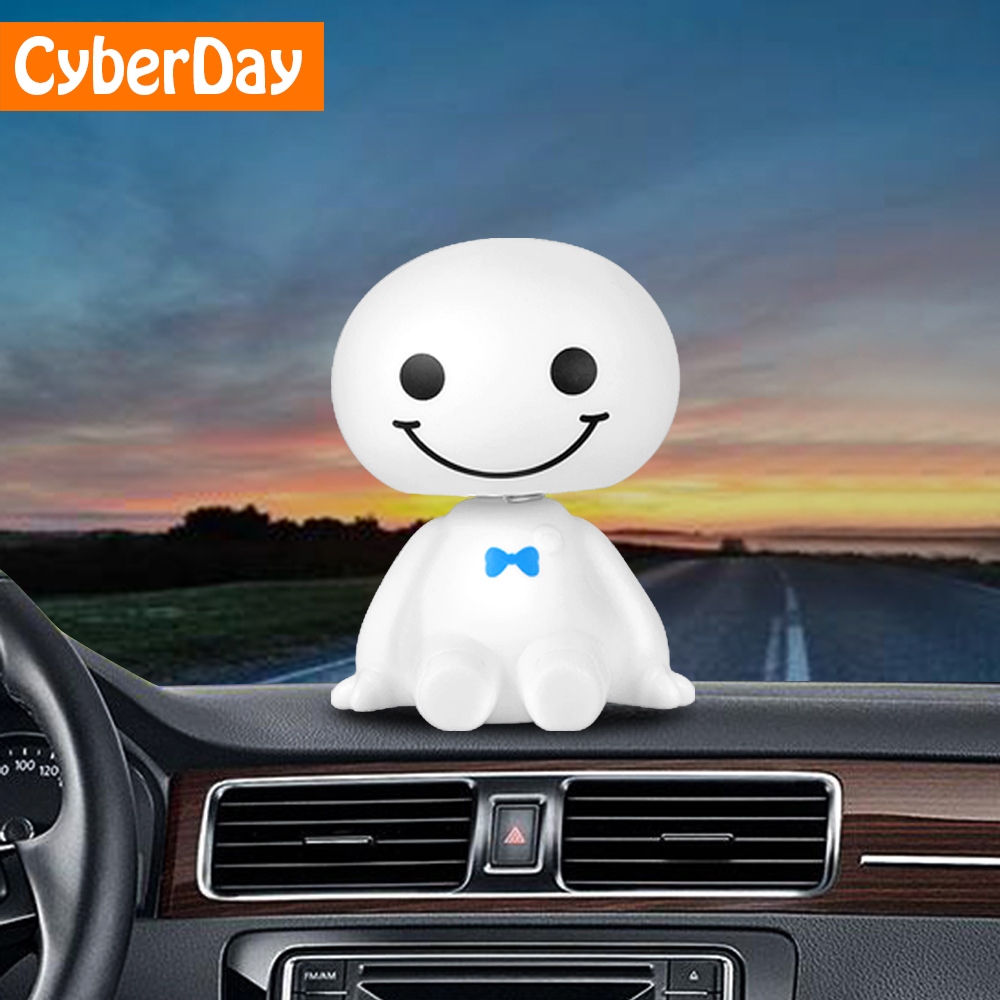 Car Ornament Cute Shaking Head Baymax Robot Doll Automotive Decoration Auto Interior Dashboard Bobble Head Toys Accessories Gift
