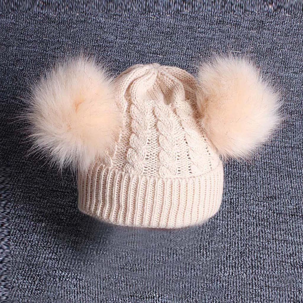 Toddler Kids Baby Knitting Wool Hemming Hat Winter Warm Hiarball Fur Ball Cap