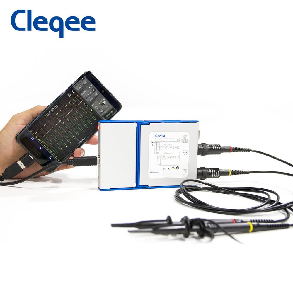 Cleqee-Oscilloscope portatif numérique, série Android et PC, connexion à 2 canaux à bande, 20 Mhz/50 Mhz, données d'échantillonnage 50 M/1G