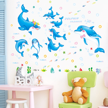 [shijuekongjian] Blue Color Dolphins Wall Stickers PVC Material Creative DIY Animals Art for Kids Room Nursery Decoration