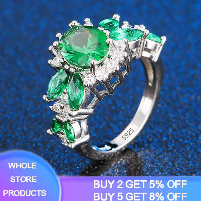 YANHUI New Fashion Real Sterling Silver 925 Jewelry Emerald Gemstone Rings For Women Female Valentine's Day Accessories