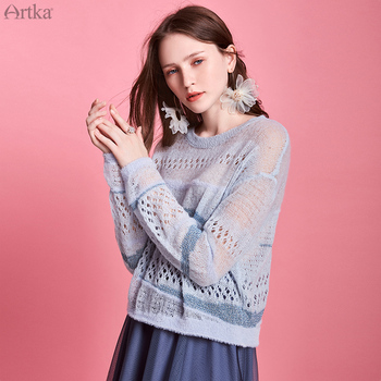 цена на ARTKA 2020 Spring New Women Knitwear Fashion Loose Long Sleeve Thin Wool Sweater Hollow Out Pullover Mohair Sweater YB20100C