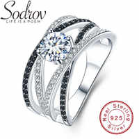 SODROV Hyperbole 925 Sterling Silver Fine Jewelry Trendy Engagement Bague Black Spinel Leaf Women's Wedding Ring C012