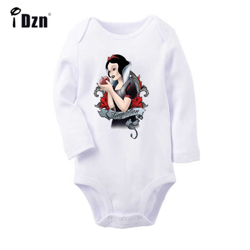 Stained Glass Cute Princess Snow White with Flowers Newborn Baby Bodysuit Toddler Long Sleeve Onsies Jumpsuit Cotton Clothes
