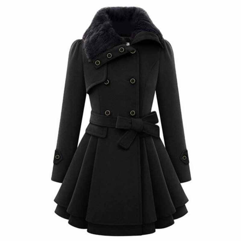 2019 Winter Warm Black Women Blends Wool Coat Vintage Double-Breasted Plus Size 5XL Overcoats Faux Fur Collar Belt Fashion Coats