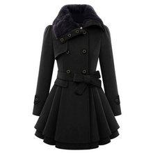 2019 Winter Warm Black Women Blends Wool Coat Vintage Double-Breasted Plus Size 5XL Overcoats Faux Fur Collar Belt Fashion Coats faux fur double breasted coat