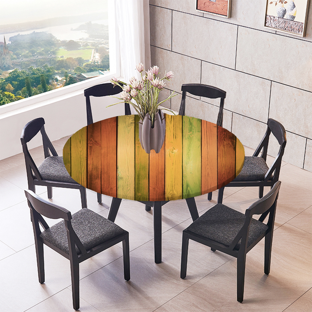 Elastic Fitted Round Tablecover Table Cloth Fitted Table Cover Round Tablecloth ~Colorful Wood 1.2m