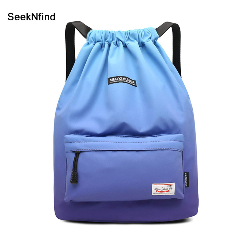 Drawstring Sports Bag Festival Backpack Nylon Softpack Gym Sports Fitness Travel Yoga Women Girls Student Bag Travel Backpack