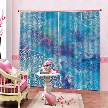 blue curtains Luxury Blackout 3D Window Curtains For Living Room Bedroom Customized size