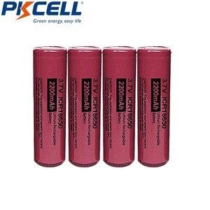 Image 1 - 4Pcs 3.7 V Li Leone Batteria PKCELL ICR 18650 3.7 Volt 2200mAh Batteria Ricaricabile