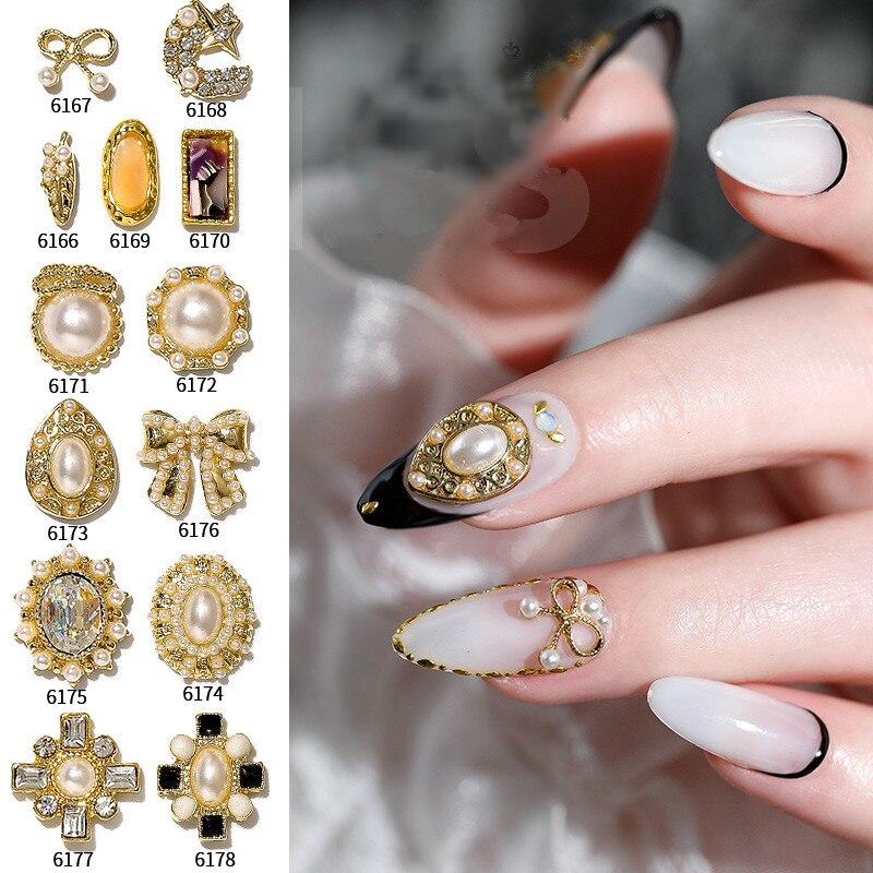 1-5 шт. натуральные жемчужные гвоздики для ногтей Лук золотые части для дизайна ногтей для УФ-гель-лака декоративные аксессуары для ногтей