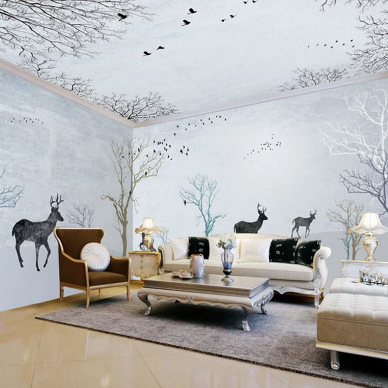 Northern European-Style Retro Forest Elk Sky Flying Bird Whole House Theme Space Bedroom Living Room Background Wallpaper Mural
