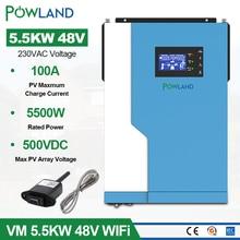 5.5KW Солнечный Инвертор AC 220V DC 48VDC MPPT 100A 500VDC PV вход 5500W Чистая синусоида гибридный инвертор с WiFI