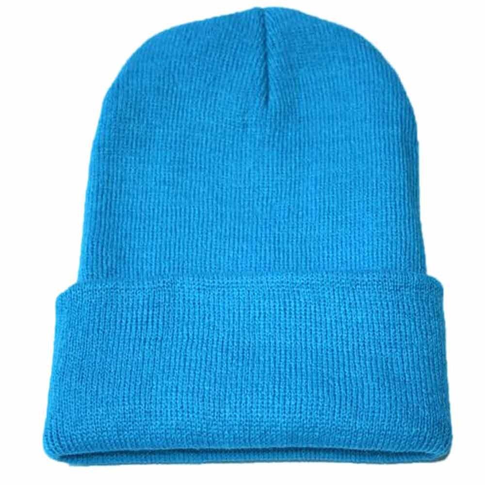 Осенне-зимняя одежда из шерсти смеси мягкий теплый вязаный Кепки Повседневное Chapeau унисекс сапоги высотой выше колена Вязание шапка в стиле хип-хоп кепка, теплая зимняя Лыжная шапка# Y5 - Цвет: Небесно-голубой